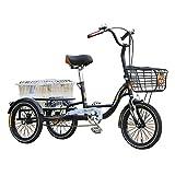 Dreirad für Erwachsene 3 Räder 16-Zoll-Fahrradfahrräder mit Heckkorbmitte und altem Roller Fahrrad-Arbeitsausflug für Elterngeschenk Maximale Belastung 150 kg