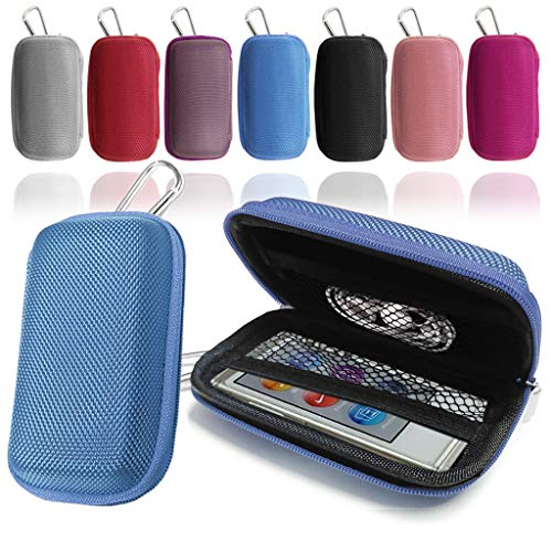 Durable Blue MP3 Player Case, Clamshell Case, Cover, Earphone Case, Holder with Metal Carabiner Clip for Apple iPod Nano 7th Generation by GUPi