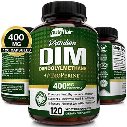 NutriFlair DIM Supplement 400mg with Bioperine 120 Capsules Diindolylmethane Estrogen Metabolism product image