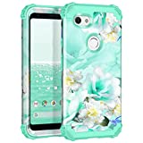 Casetego Compatible with Google Pixel 3a XL Case,Floral Three Layer Heavy Duty Hybrid Sturdy Shockproof Full Body Protective Cover Case for Google Pixel 3a XL,Green/White