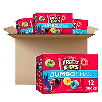 Kellogg s Froot Loops Jumbo Snax Cereal Snacks Original On the Go 12 - .45 oz bags Pack of 4 48 count total