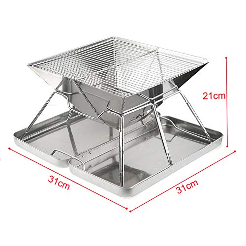 Vinteky Barbecue Grill, Draagbare Barbecue Grill BBQ Houtskool Grill Met Roestvrij Staal BBQ Gaas Opvouwbare Tafel Kolen Tuin Reizen Camping Vouwen Grill M-31 * 31 * 21cm