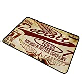 shirlyhome Doormat Entrance Detroit for Outdoor Entrance Vintage Elements Michigan Company Free Wings Transport Auto Show Themed Rectangle 35 x 47 inch Pale Yellow Burgundy