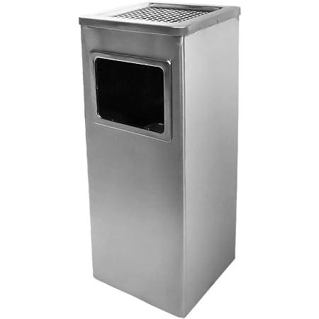 屋外用 スタンド灰皿 スモーキングスタンド 業務用吸い殻入れ ゴミ箱付き ステンレス製 店舗用灰皿 完成品 高さ60cm (銀シルバー・角型)