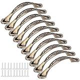 10 juegos de tiradores de puerta de bronce, tiradores de metal retro para armarios, armarios, cajones, cofres, alacenas de 96 mm