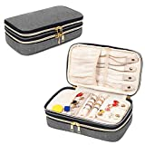 Teamoy Double Layer Jewelry Organizer, Jewelry Travel Case for Rings, Necklaces, Earrings, Bracelets and More(Medium, Gray)