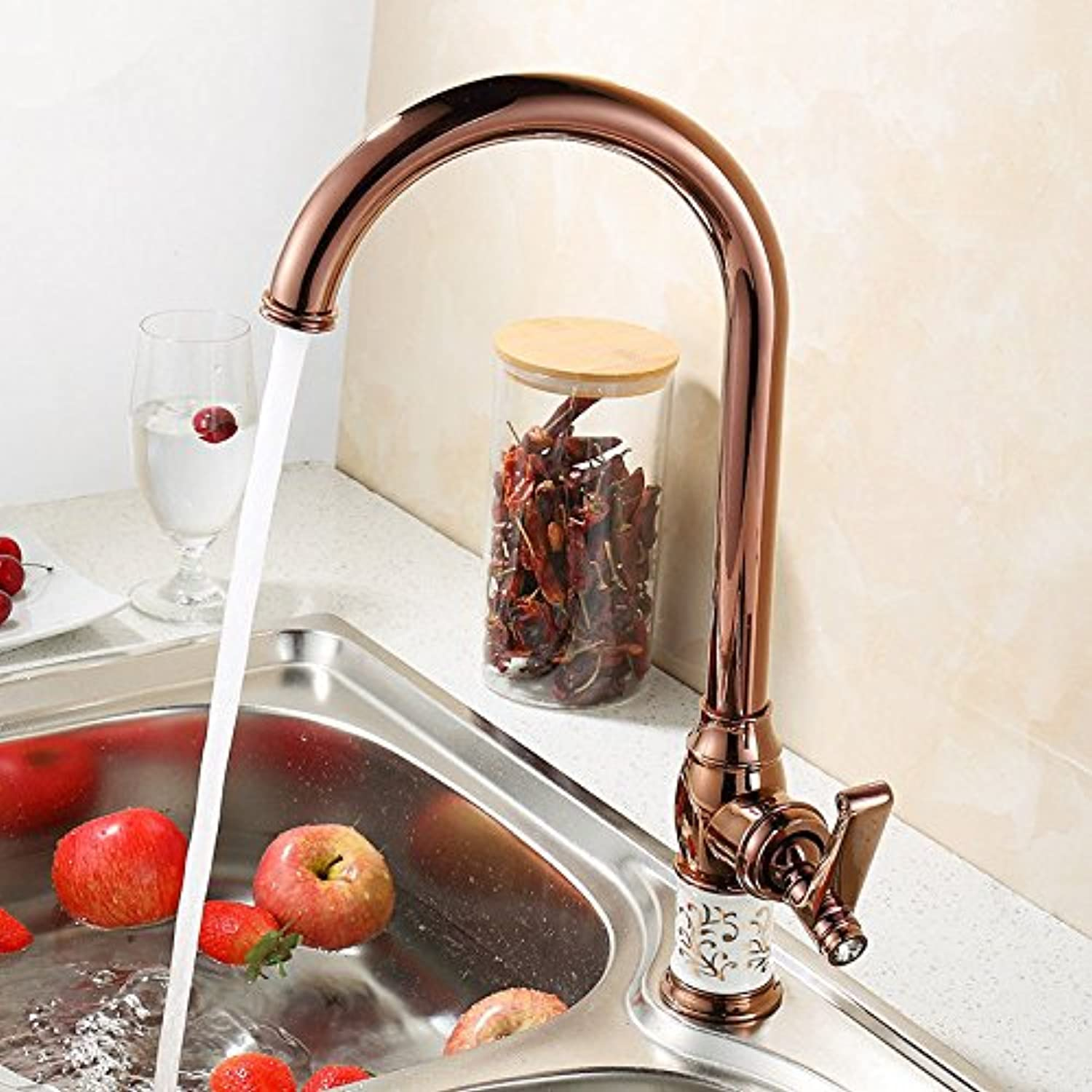 Hlluya Professional Sink Mixer Tap Kitchen Faucet The Antique brass faucet antique dish washing basin sink hot and cold pink gold
