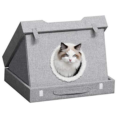 Pawhut Katzenhöhle mit Kraztbrett multifunktionale Katzenbett Kratzhaus Katzenhaus Katzenwohnung faltbar Sisal Grau 41 x 41 x 39 cm