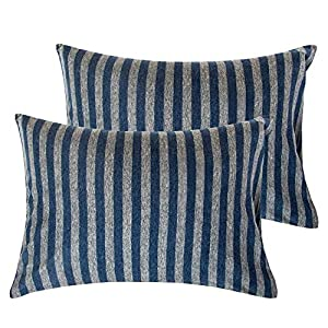 """crib bedding and baby bedding ntbay organic cotton jersey knit toddler pillowcases, 2 pack soft and breathable travel pillow cases with envelope closure, for boys and girls, 13"""" x 18"""", dark blue and grey stripe"""