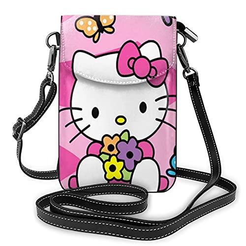 XCNGG Kleine Geldbörse Hello K-itty Pink Sweet Crossbody Bags for Women's Crossbody Handbags Cell Phone Purse Waterproof Leather Handbags Small Wallet