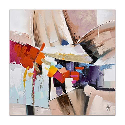 ADM - Astratto - Quadro, dipinto a mano astratto su tela e montato su telaio estetico alto - Rosa - H100 cm