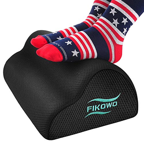 Fikowo Foot Rest Under Desk with Ergonomic Height, Soft Yet Firm Foam Foot Stool for Home, Office, Car, Airplane to Relieve Lumbar, Back, Knee Pain, with 2 Optional Covers, Non-Slip Bottom (Black)