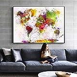 JNZART Aquarell Weltkarte Poster Moderne Wand Graffiti Pop Art Leinwand Gemälde An Der Wand Abstrakte Karte Bilder Für Wohnzimmer A 30x40cm