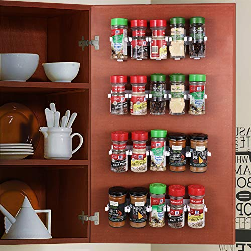 CAXXA 20 White Adhesive Spice Gripper Strip Clips with Extra Support, Spice Rack Dispenser, Kitchen Cabinet Holder, 4 Strips, Holds 20 Jars