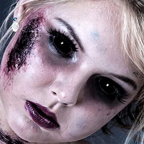 Funlinsen Black Sclera-Markenqualität- 1 PAAR-D-22mm-schwarze Linsen,Cosplay, Larp, Zombie Kontaktlinsen, Crazy Funlinsen, Halloween, Fastnacht,Vampir - 8