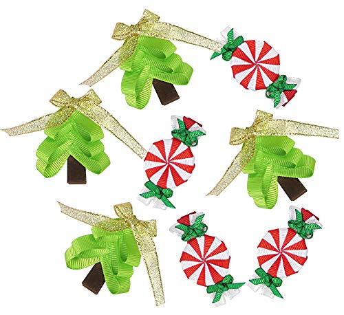 HipGirl Christmas Bows for Christmas Presents,Birthday Presents - Red,Green,Gold Gift Pull Bows to Match Christmas Wrapping Paper, Party Favors (8ct 2' Ribbon Sculpture Christmas Tree Gift Bows)