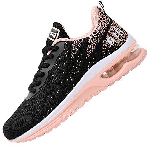 Impdoo Women's Air Athletic Running Sneaker Cute Fitness Sport Gym Jogging Tennis Shoes (Peachblack US 8.5 B(M)