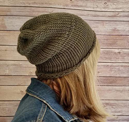 Women's Lightweight Handmade Army Green 100% Organic Merino Wool Beanie