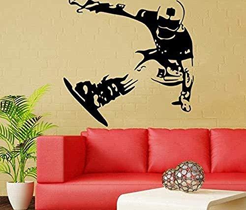 Etiqueta de la pared de vinilo decoración de la pared etiqueta de bricolaje tabla de patinaje sobre hielo té chico dormitorio fondo pared snowboard decoración del hogar arte de la pared 57X58cm