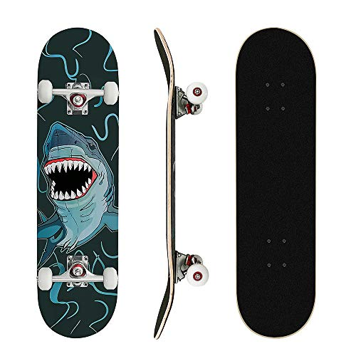 MammyGol Skateboards 31#039#039x 8#039#039 Complete Skateboard Cruiser 9 Layer Canadian Maple Double Kick Concave Standard and Tricks Skateboards for Beginner and Pro(Shark