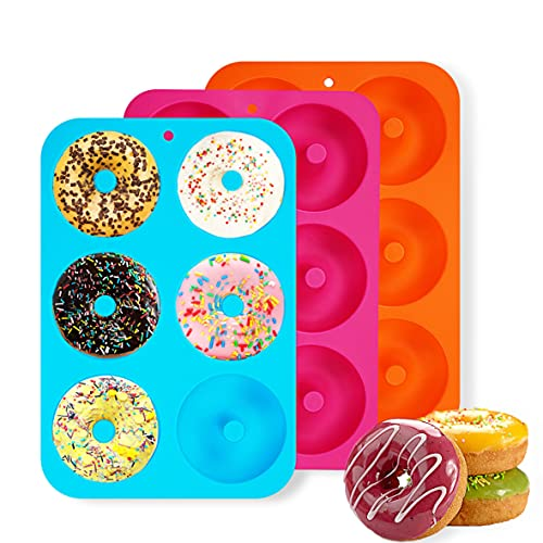 Molde para Donut de Silicona, 3 Pieza Antiadherente Molde Donuts para Pasteles,Jalea, Galletas,Bagels, Muffins-Naranja,Molde de Hornear Pastel (Donut)