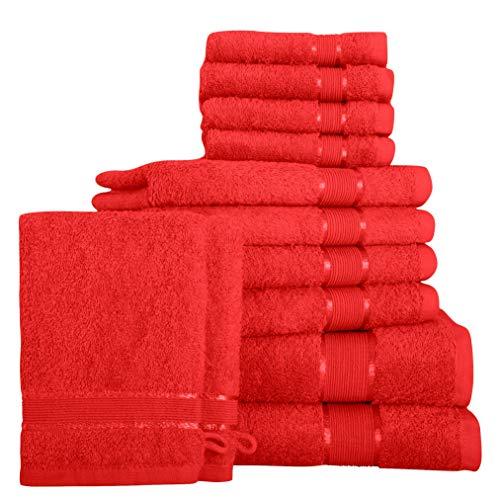 Mixibaby 12 TLG. Juego de toallas de ducha, toalla de mano, toalla de invitados, manopla de baño coral con combinación de colores, color: coral