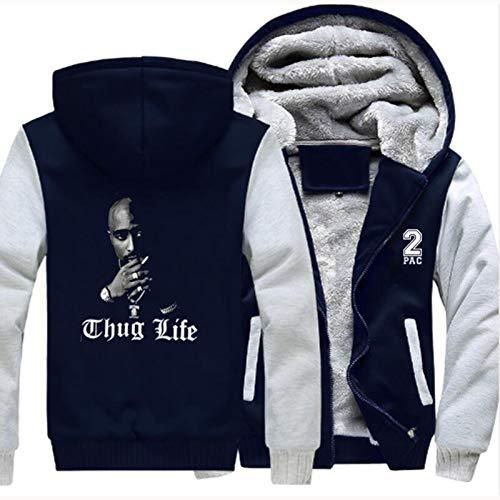CLDP Herren Hoodies Pullover - 2PAC Mode Print Mit Kapuze Sweatshirt Warme Nähte Langarm Lässige Sportarten Voller Reißverschluss Jacken - Teen Geschenk Blue-Large