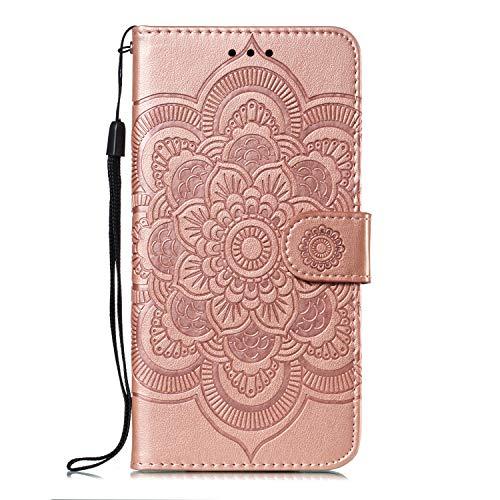 ZCXG Handyhülle für Huawei P30 Pro Hülle Leder Rose Gold Mandala Magnet Slim Silikon Hülle Inner Flip Cover Schutzhülle Huawei P30 Pro Tasche Blume Brieftasche Mädchen mit Kartenfach Holster