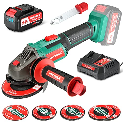 HYCHIKA 20V Cordless Angle Grinder Tool, 4-1/2 Inch Hand Grinder 8500RPM, 4.0Ah Li-ion Battery & 1 Hour Fast Charger & 4 Grinding Wheels & 1 Cutting Blade, 3-Position Handle