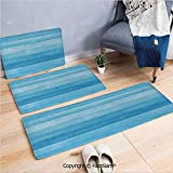 FashSam 3 Piece Flannel Doormat Wooden Planks Painted Texture Image Oak Tree Surface Maple Pine Board Stripes Decorative for Kitchen Rugs Carpet(W15.7xL23.6 by W19.6xL31.5 by W19.6xL59)