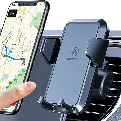 VANMASS Handyhalterung Auto Handyhalter fürs Auto Lüftungs Kfz Handyhalterung 2 Upgrade Lüftungsclips 100% Silikon Schutz Smartphone Halterung Auto 360° Drehbar für iPhone Samsung Huawei Mate LG usw