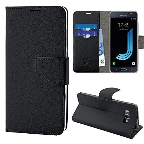 N Newtop Funda compatible para Samsung Galaxy J5 (2016) J510, HQ Lateral Funda Libro Flip Cierre Magnético Cartera Simil Cuero Stand (Negro)