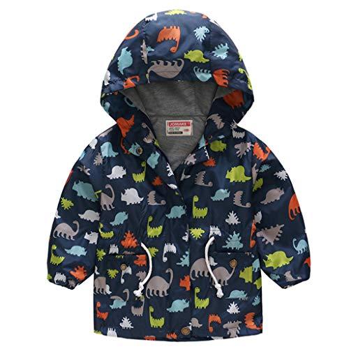 Kids Girls Boys Long Sleeve Cute Cartoon Print Nylon Water-proof Windproof Hood Jacket 2-8 Years