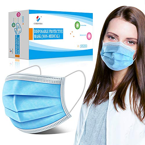 Disposable Face Masks, 3-Ply Earloop Mouth Mask for Dust and Personal Health,Non Latex Breathable Protective Masks for Dust, Pollutants