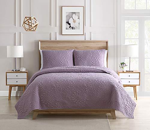 Bourina Bedspread Coverlet Set Pre-Washed Microfiber Ultra Soft Lightweight Oversized 3-Piece Quilt Set Cal King 110'x96', Lavender