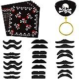 Integrity.1 Accesorios para Piratas, Decoraciones de Juegos de rol, Pañuelos en La Cabeza, Barba Negra Simulada, Máscara para los Ojos del Caribe, Aretes de Oro, Armas Piratas (42 Piezas)