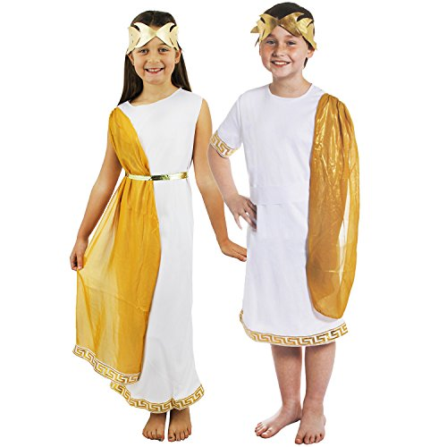 ILOVEFANCYDRESS RÖMISCHES +GRIECHISCHES Tunika KOSTÜM Verkleidung FÜR Kinder Paare= GÖTTIN und CÄSAR =Fasching Karneval = MÄDCHE-SMALL + Junge-SMALL