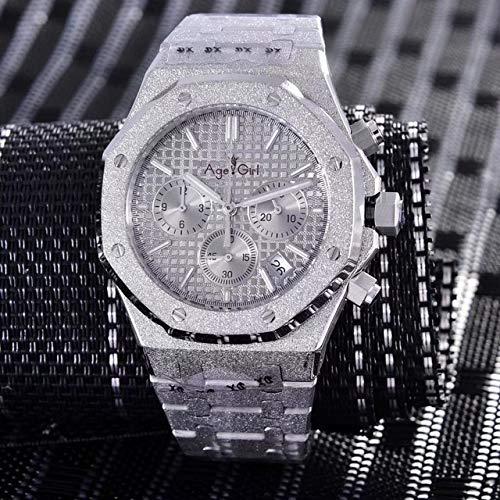 HHBB Marca de lujo hombres reloj cronógrafo zafiro acero inoxidable plata mate cristal cronómetro luminoso negro azul gris Aaa+ gris