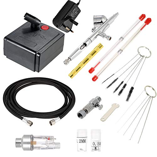 KKmoon Feed Dual Action Airbrush Air Compressor Kit for Art Painting...