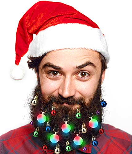 40pcs Christmas Beard Lights Ornaments Glitter Kit 2020 with Jewelry Baubles Beads, Bells, Light Up Bulbs, Best Gifts for Men Women Kids Hair Decoration, Funny Ugly Xmas Sweater Party Accessories
