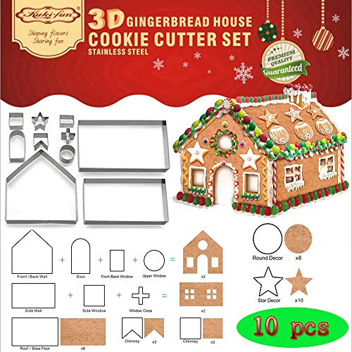 (Set of 10) Gingerbread House Cookie Cutter Set, Bake Your Own Small Christmas House Kit, Chocolate...