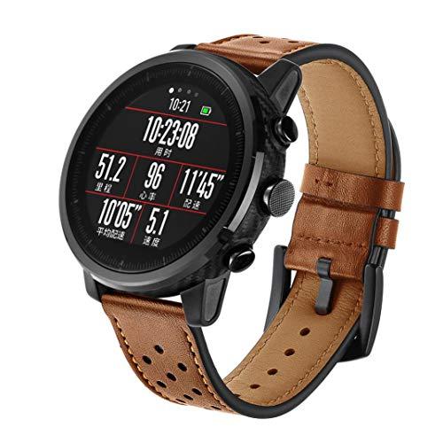 ☀️Modaworld Pulsera de Reloj de Cuero Pulsera de muñequera para Amazfit Stratos 2 / 2S Smart Watch Correas de Reloj Inteligente Pulseras de Repuesto (marrón, para Amazfit Stratos 2 / 2S)