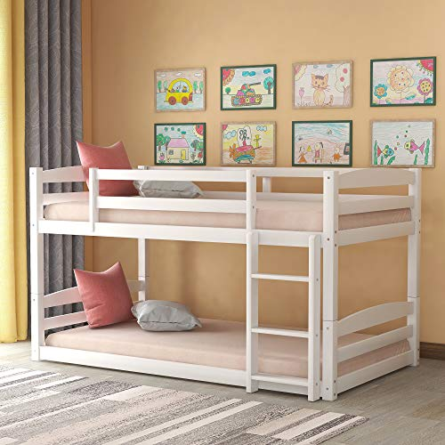 Merax Solid Wood Bunk Bed, No Box Spring Needed, Twin Over Twin/Twin, White