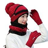 Voqeen 4 piezas Mujer Set de Bufanda de Invierno de Punto Grueso Pom Pom Sombrero de Beanie Bufanda Guantes de Pantalla Táctil Cubierta Facial Extraíble para Damas Niñas Esquí Deportes Al Aire Libre