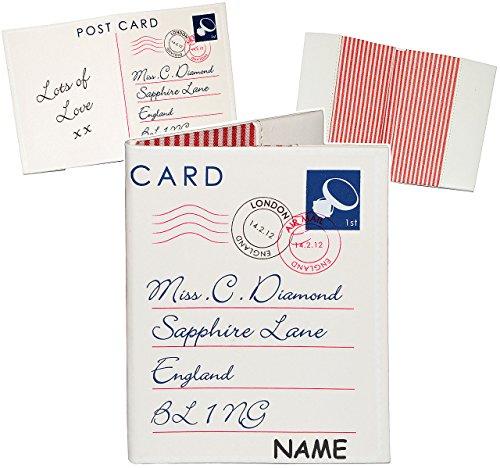 alles-meine.de GmbH Reisepass Hülle -  Brief / Postkarte  - incl. Name - aufklappbar - aus Kunst Leder - Päße - Reisepasshülle / für die Reise - Passhülle - Etui & Tasche - Sch..