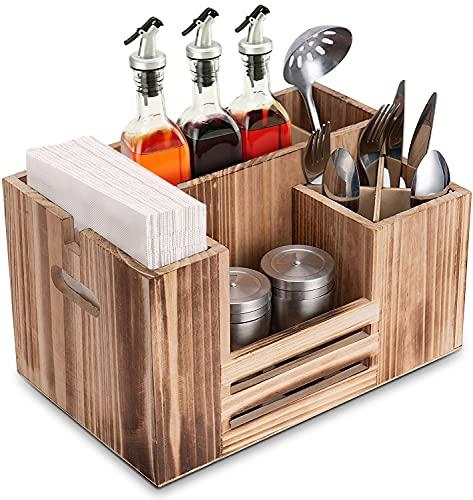 Besteckbehälter Holz Tisch, Besteckaufbewahrung Tischbutler, 8 Fächer Besteckkasteneinsatz & Serviettenspender für Servietten Besteck Saucen Gewürze, Besteckträger für Gastro Party Büffet Küche