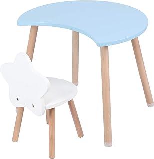 Cocoarm Grupo de Asientos para niños Mesa para niños con sillas Mesa para niños y sillas para niños Mesa de MDF Multifuncional Juego de sillas de Escritorio para la decoración (Blau)