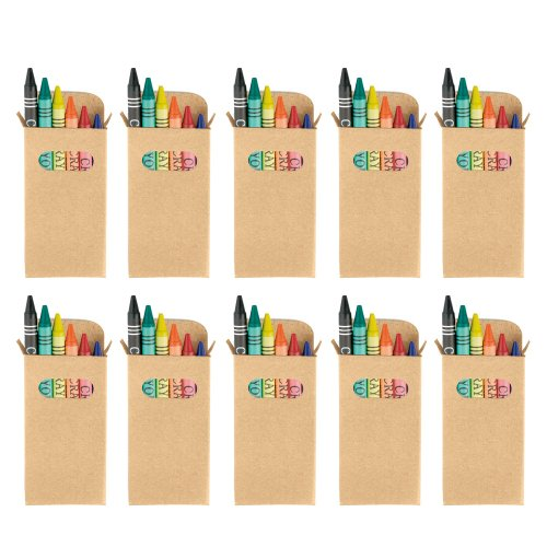 New eBuyGB Sets of Colouring Wax Crayons - Kids Party Bag/Loot Toy Wedding Favour, Pack of 50