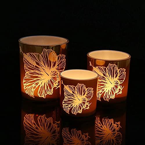 HOMMAX Teelichthalter 3 er Set, Windlicht aus Glas, Hibiscusmuster Kerzenhalter, Teelichtglas für Wohzimmer, Tischdeko, Herzstück oder als Geschenk