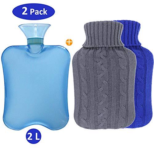 Philonext Paquete de 2 botellas de agua caliente con fundas tejidas - Funda...